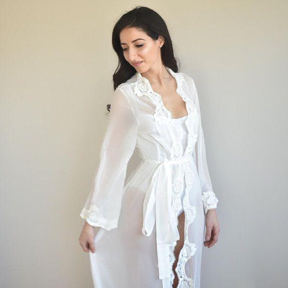 a28bc7e8de9 long lace bridal robe for bride wedding day bridal photos lingerie silk robe  bridesmaid robes brides
