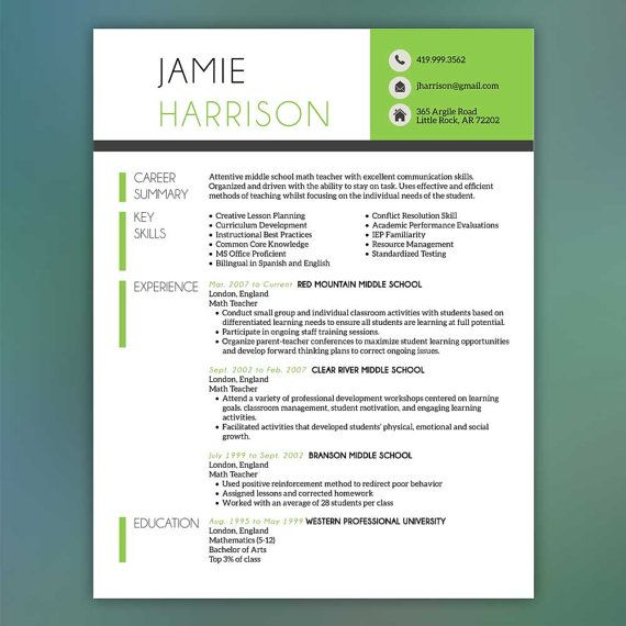Teacher Resume Template - Resume with Free Cover Letter and - reference template for resume