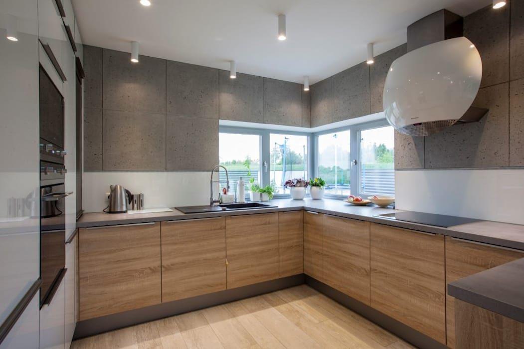 Projekt Wnetrza Domu Jednorodzinnego Styl W Kategorii Kuchnia Zaprojektowany Przez Kunkiewicz Architek Interior Design Kitchen Kitchen Design Kitchen Layout