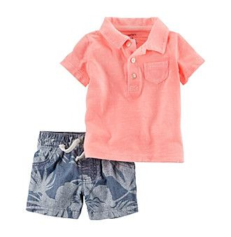 Carters Baby Boys 2 Piece Polo And Palm Printed Short Set