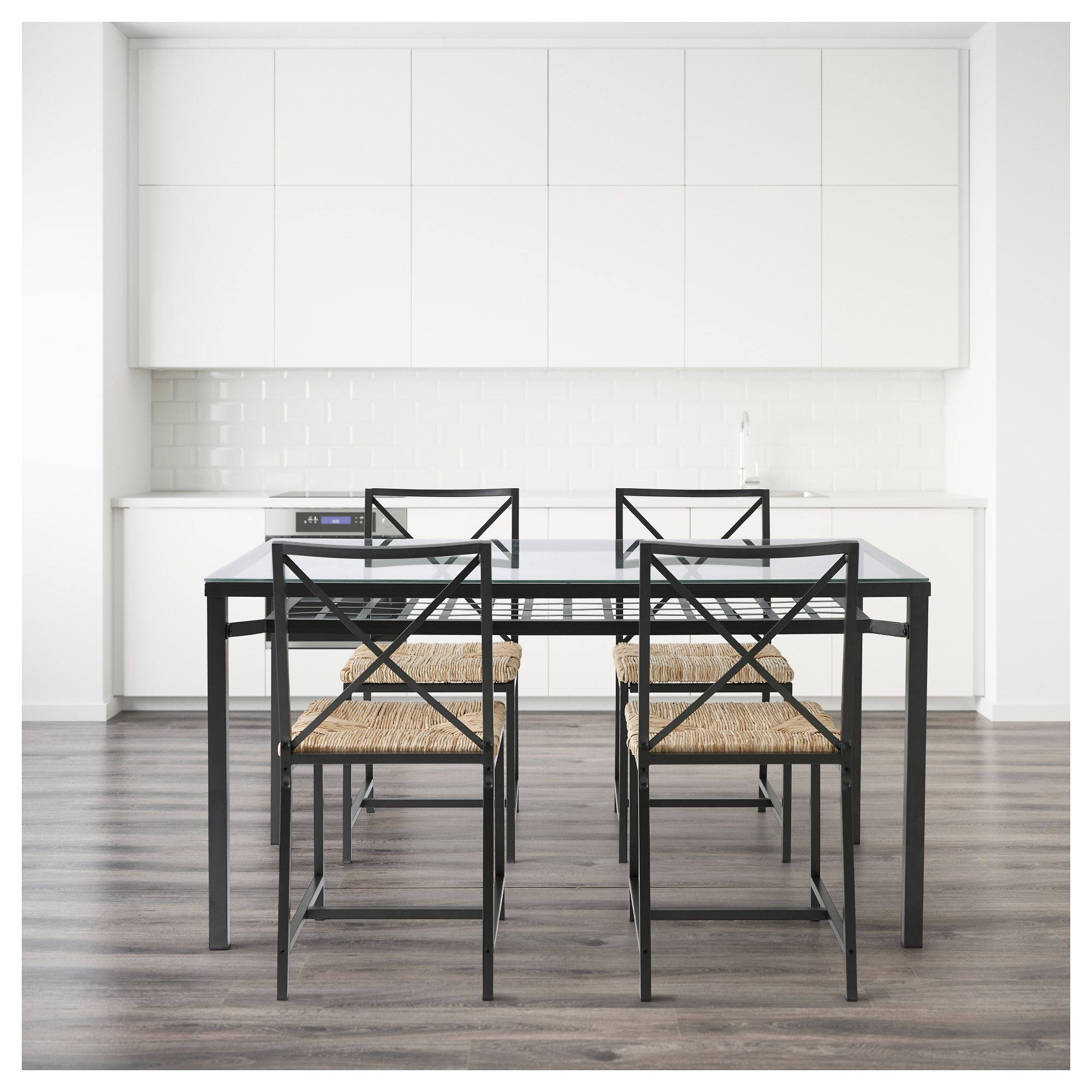 Ikea GranÅs Table And 4 Chairs Black Gl