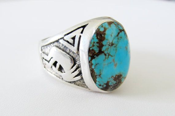 turquoise and Sterling  Silver Native American ring Turquoise southwest ring