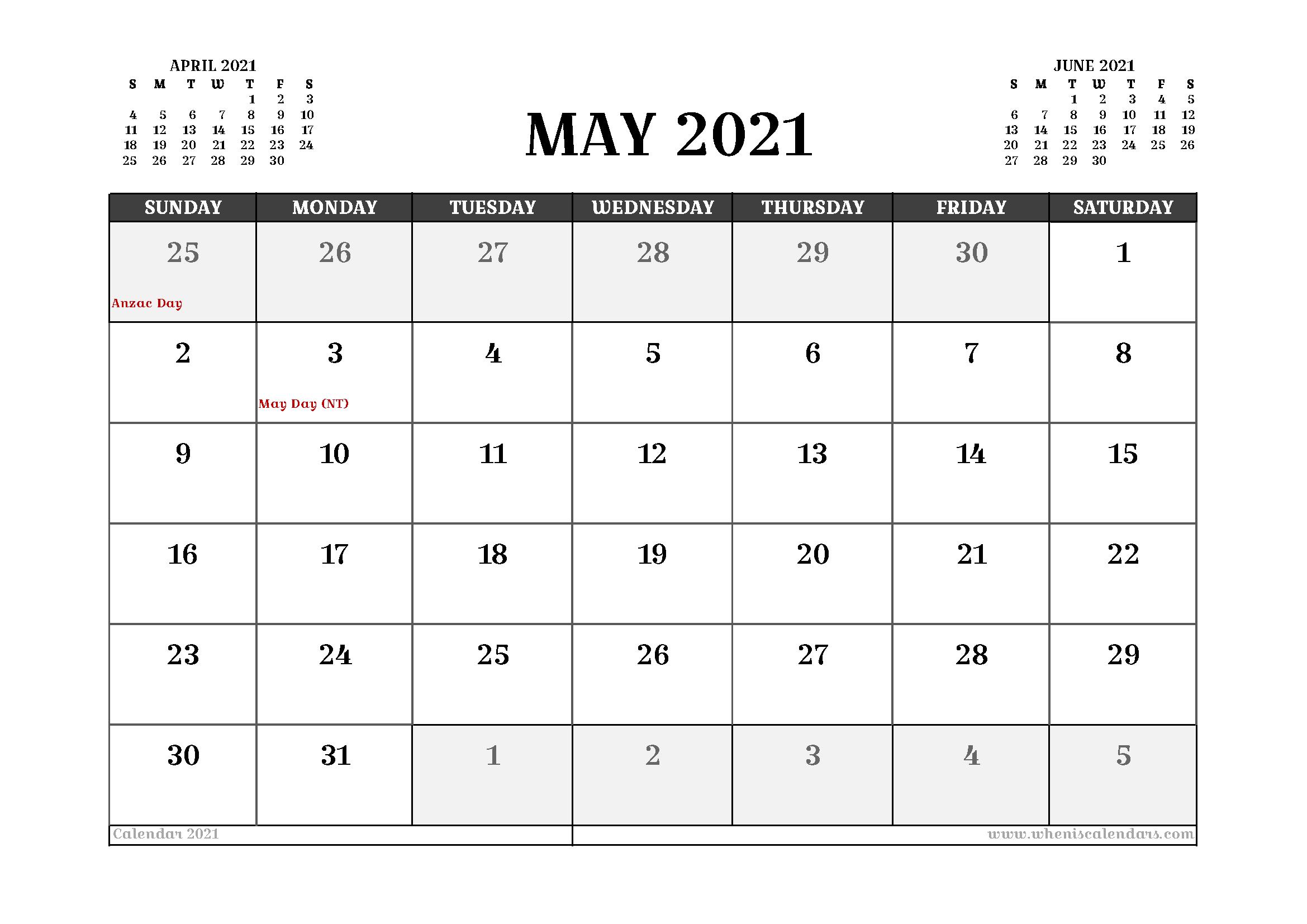 Free Printable May 2021 Calendar Australia In 2020 Calendar Uk 2021 Calendar Printable Calendar Template
