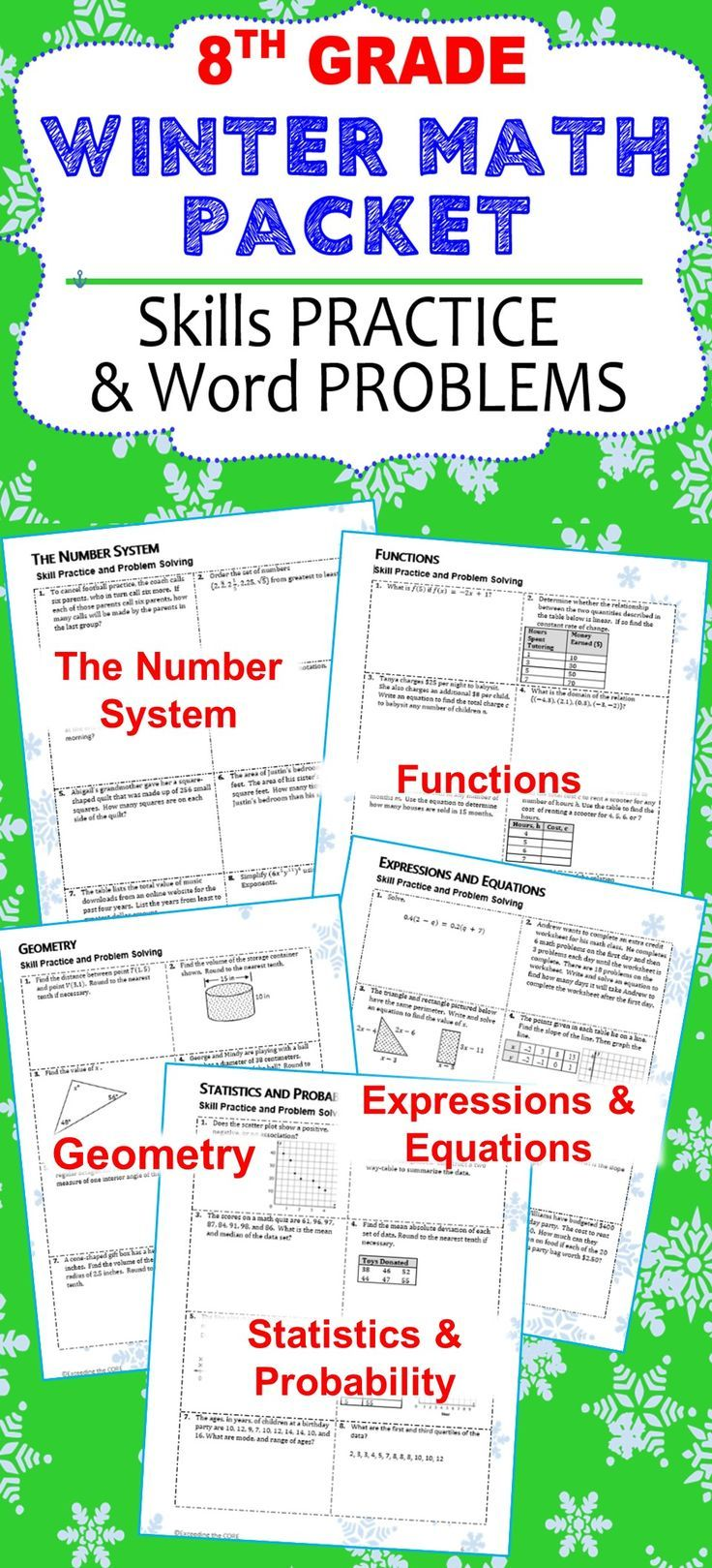 This 8th Grade Math Packet has it all and requires NO PREP! The resources in this packet are designed to meet Common Core Standards for 8th grade math.I have included questions from each of the 8th grade domains, and each domain(topic) is on a different page so that you may customize this packet as needed. Topics include: * page 2 - The Number System (8NS)  * page 3 - Functions (8F) * page 4 - Expressions and Equations (8EE) * page 5 - Geometry (8G) * page 6 - Statistics and Probability…