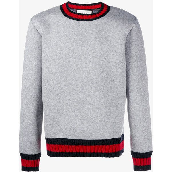 99951145855 GUCCI Striped Neoprene Sweatshirt ( 660) ❤ liked on Polyvore featuring  tops