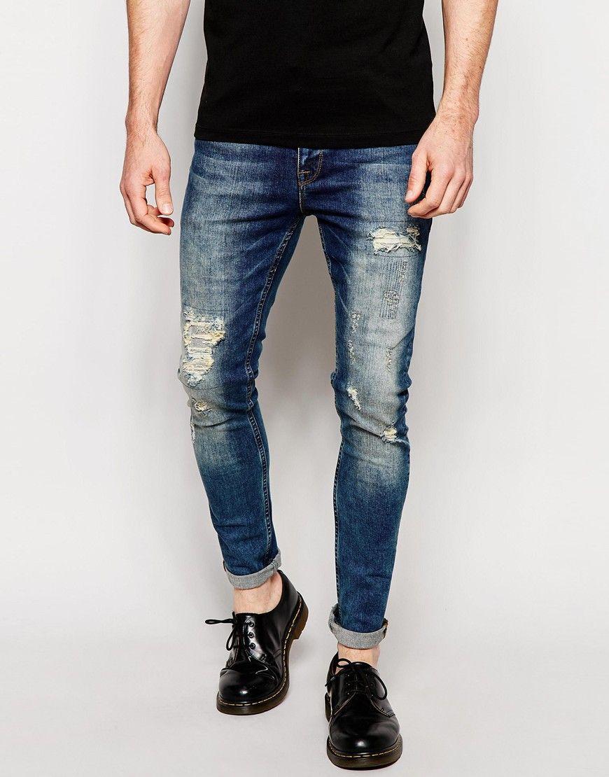 ASOS Super Skinny Jeans Tinted With Mega Rip And Repair