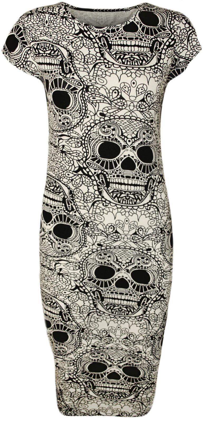 Women/'s Skull Skeleton Bone Print Long Sleeve Ladies Bodycon Short Dress 8-14