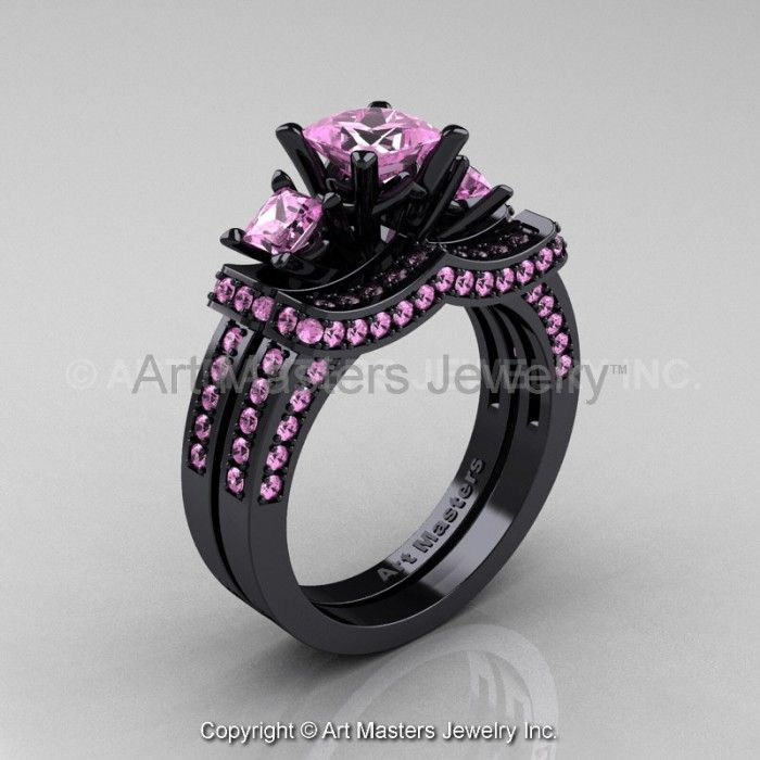 pink diamond wedding ring set pink sapphire wedding ring - Black And Pink Wedding Ring Sets