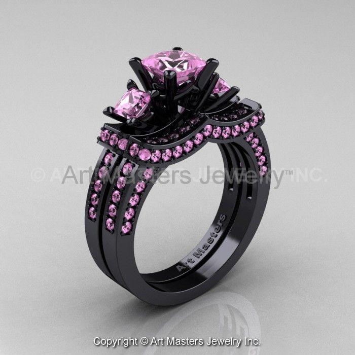 Bon Pink Diamond Wedding Ring Set | ... Pink Sapphire Wedding Ring