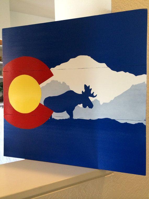 Handmade Colorado flag wall art Pikes Peak/Moose - Etsy