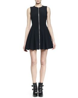 W05NK Alexander McQueen Zip-Front Fit-And-Flare Dress