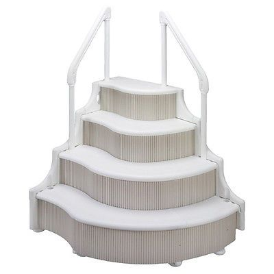 Grand Entrance Above Ground In Pool Steps By Ocean Blue Wedding Cake Style Pool Ladder Pool Steps Above Ground Pool Stairs