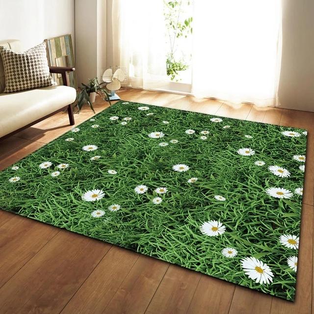 Wild Green Grass Daisy Print Area Rug Floor Mat Rugs On Carpet Living Room Carpet Area Rug Decor