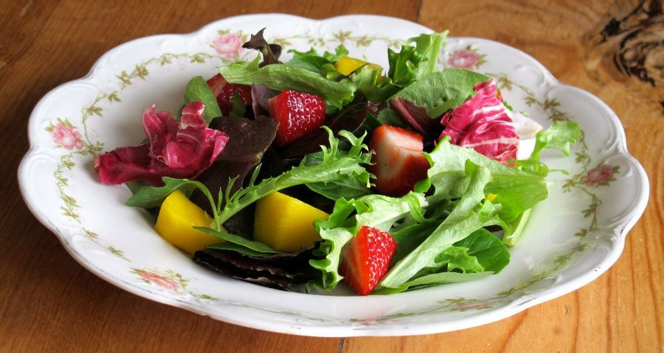 Strawberry Mango Salad with Balsamic Vinaigrette Dressing Combine  2 tbsp balsamic vinegar 1 tbsp honey 1 tbsp chopped fresh basil or 1 tsp dried basil s and p to taste  Rapidly whisk in  1/3 cup olive oil in a slow steady stream Serves 2 large salads