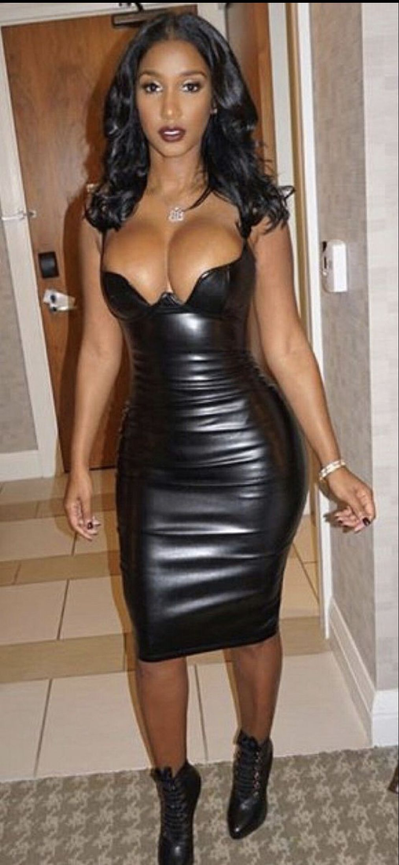 Black leather big boobs