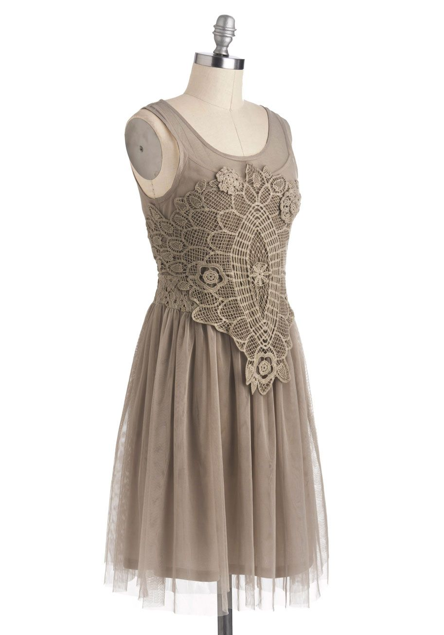 Bohemian Belle Dress in Taupe   Mod Retro Vintage Dresses   ModCloth.com