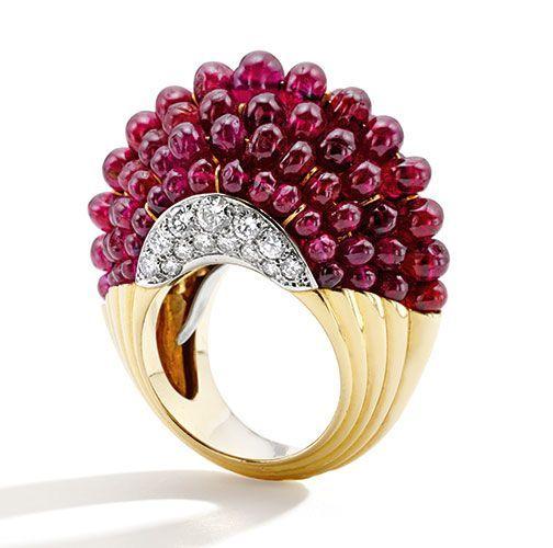 Cartier Bague Boule Rubis, Diamants, Or, Platine