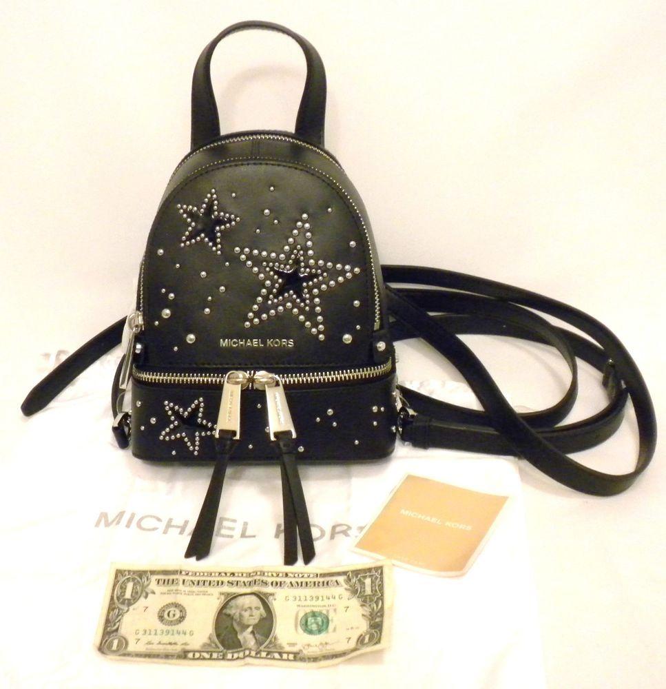 07c97280cc67 store michael kors black rhea zip silver studded star mini messenger xs  backpack bag michaelkors backpack