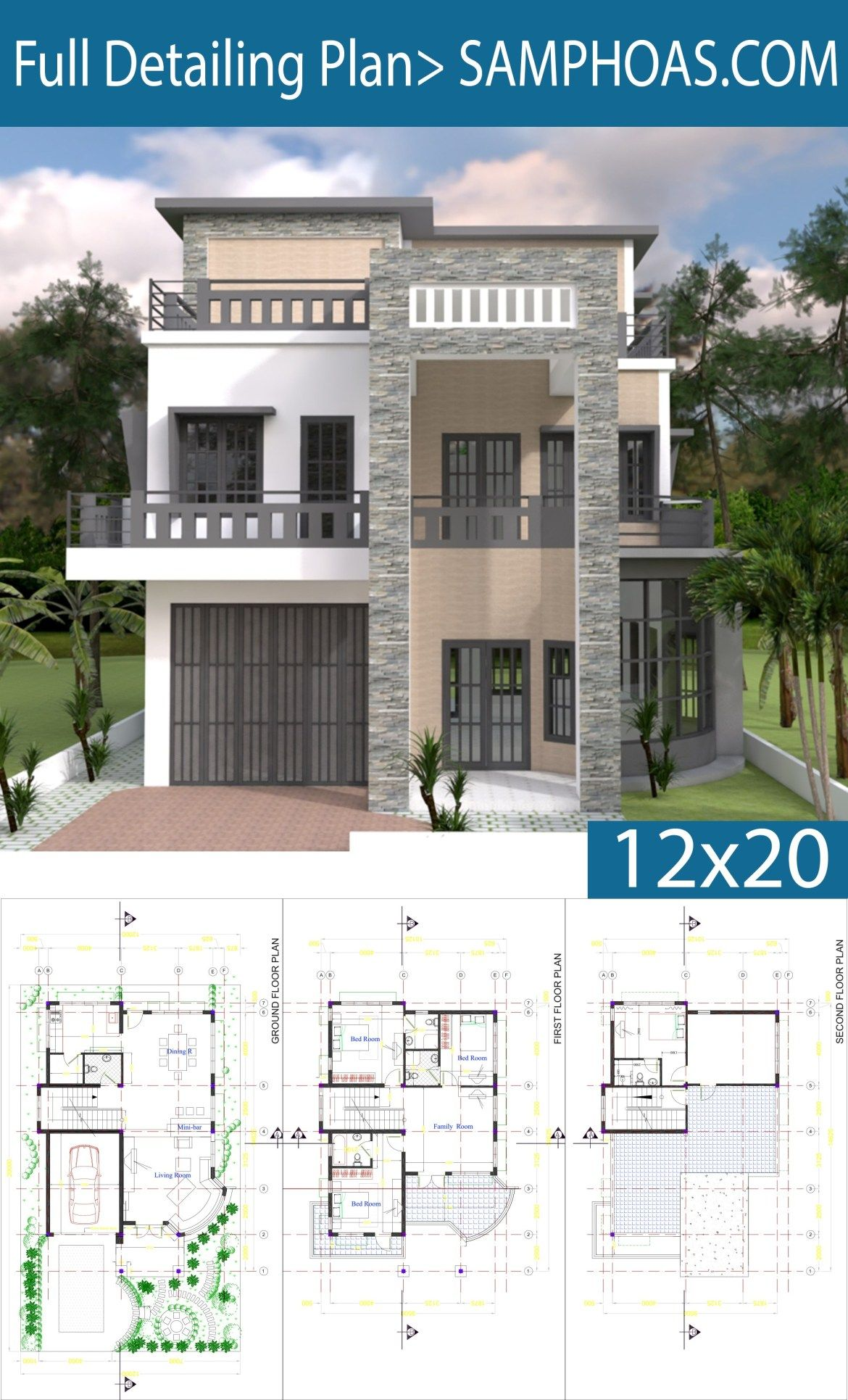 Modern House Plan 9x14 5m With 4 Bedrooms Samphoas Plansearch Modern Bungalow House Modern House Plan House Plans