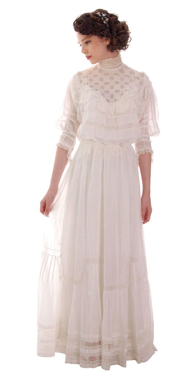The Cats Pajamas Victorian White Lawn Lace Fancy Ladies Summer Wedding 2pc Dress 34 20 Free Gibson Gir Victorian Dress Summer Wedding Dress Vintage Dresses [ 1280 x 655 Pixel ]