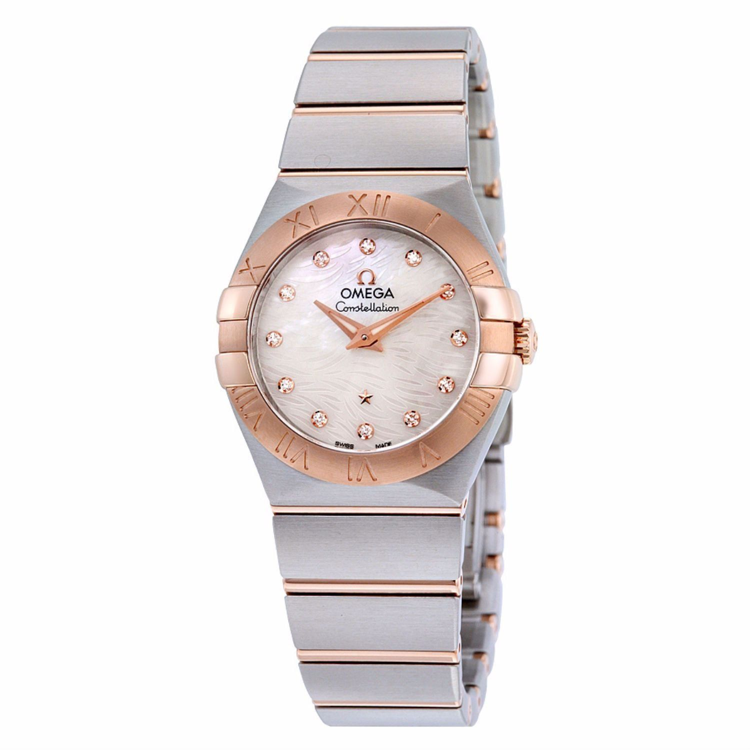 Omega Women's 'Constellation' Swiss Quartz Stainless Steel Dress Watch, Color:Two Tone (Model: 12320276055007). Brushed finished stainless steel case with polished finished 18kt Rose gold bezel & crown with a stainless steel bracelet with 18K Rose gold Links. Mother-of-pearl dial decorated with a wavy pattern that flows between the iconic claws. The dial is complete with 12 diamond indexes. Swiss-quartz Movement. Case Diameter: 27mm. Water Resistant To 100m (330ft): In General, Suitable…