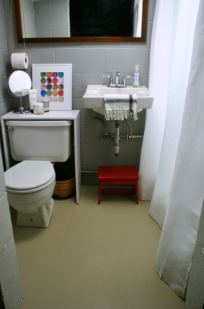 attractive Unfinished Basement Bathroom Ideas Part - 2: A small unfinished basement bathroom gets spruced up with paint and  accessories #budget #smallbathroom #basement