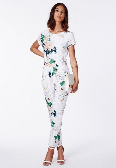 eba31b58eaa Delia Floral Tailored Jumpsuit White - Jumpsuits - Missguided ...