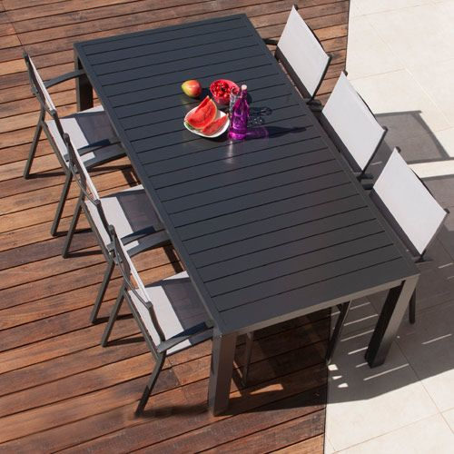 Salon de jardin: table MALAGA 2m + 6 fauteuils ANTIBES | Salons de ...