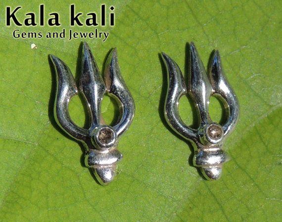 14x8 MM Genuine Diamonds in Sterling Silver Trident by KalaKali, €45.00