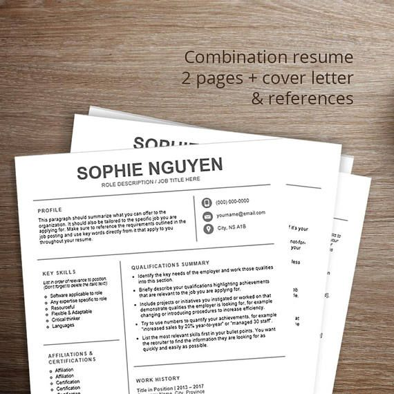 Modern resume template / cv template Combination resume, cover