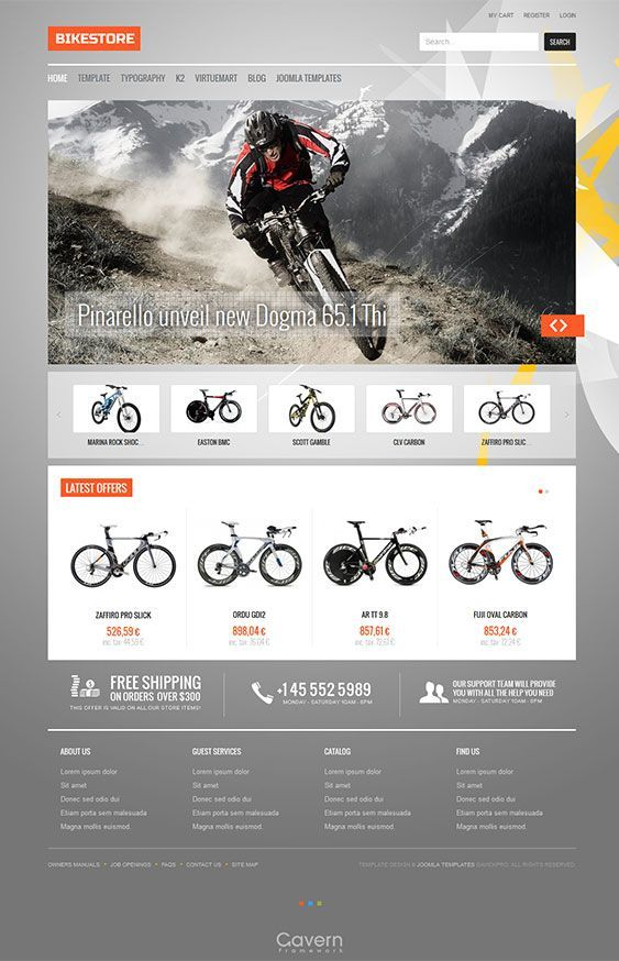 Cool example of bike shop website design. Make one like this at AllyOne.net