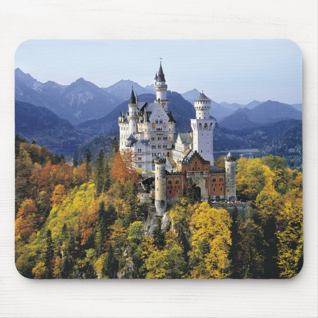 The Fanciful Neuschwanstein Is One Of Three Mouse Pad Zazzle Com Neuschwanstein Castle Castle Travel
