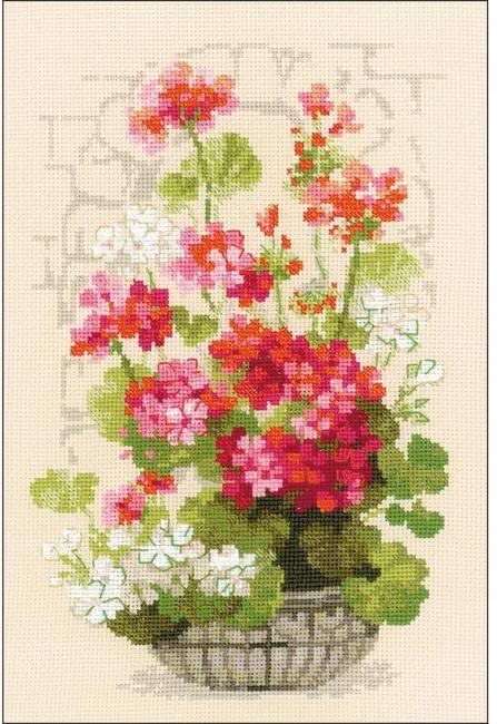 Geranium Flowers Cross Stitch Kit Cross Stitch Kits Cross Stitch Cross Stitch Flowers