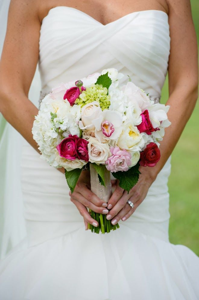 Pink And Red Lake House Wedding