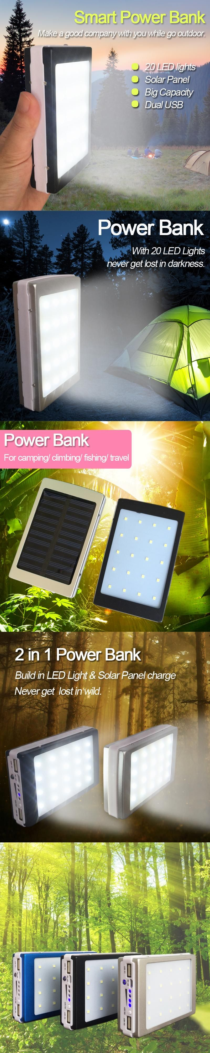 mAh Solar Power Bank with 20 LED Camp Lights External Solar Charger Power Bank for All Mobile Phones for Outdoors Camp ride