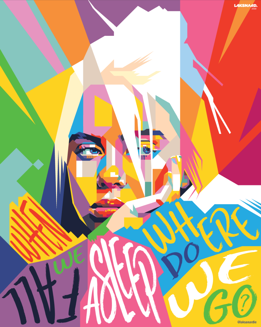 Billie Eillish Wpap By Laksanardie On Deviantart Poster Prints Pop Art Pop Art Posters