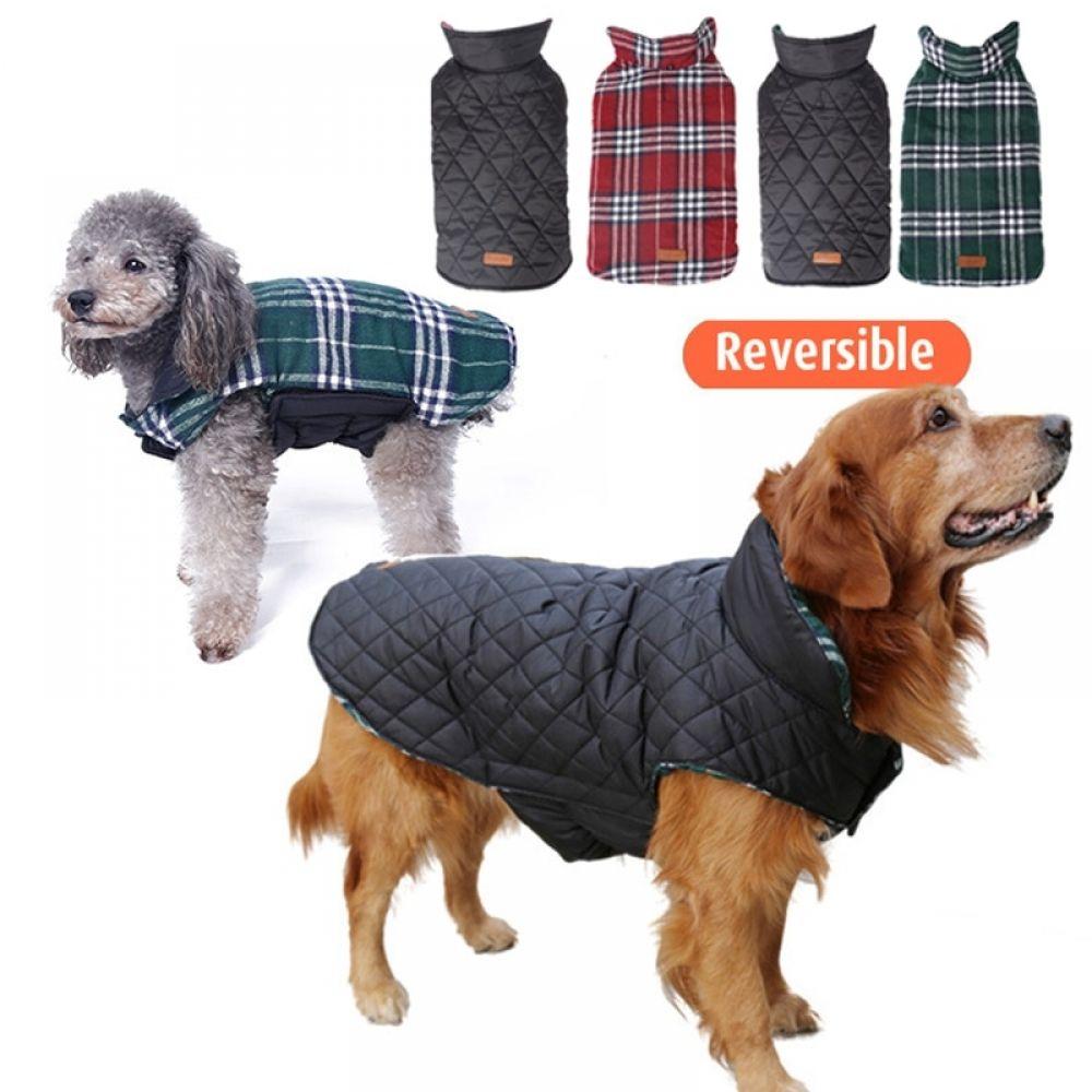 Reversible Classic Plaid Dog Vest Waterproof Dog Winter Coat Dog Coats Large Dog Coats