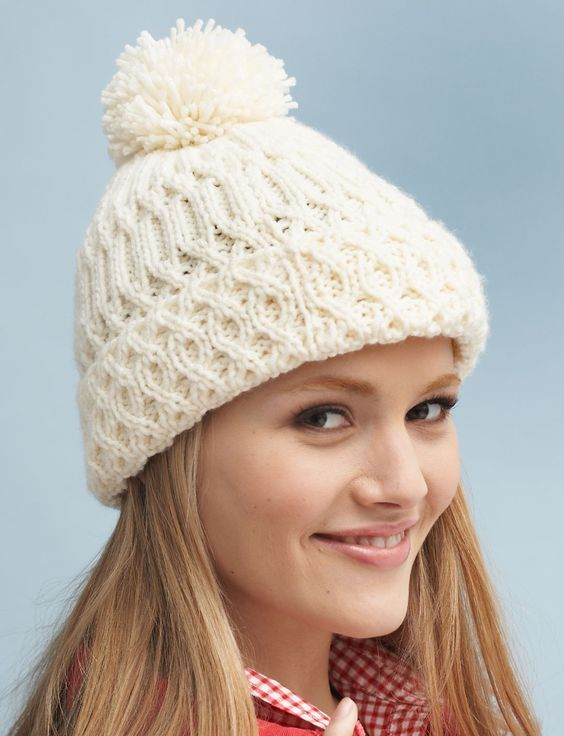 Free Knitting Pattern For Aran Hat With Pompom Aran Knitting Patterns Cable Knit Hat Pattern Knitting Patterns Free Hats