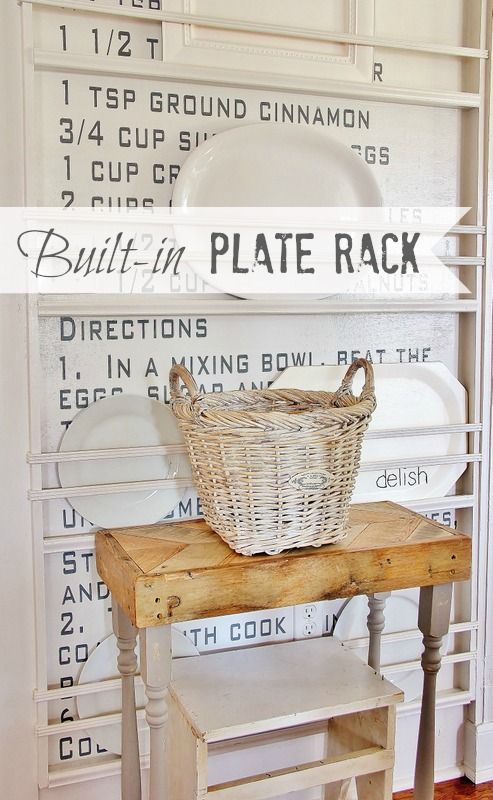 DIY Built-in Plate Rack + how to create a recipe wall by @Thistlewood Farm