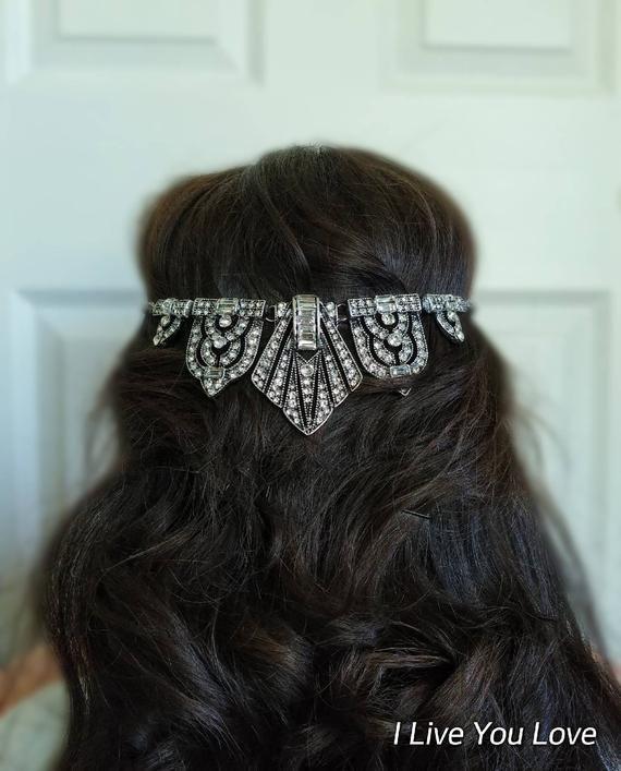 Art Deco White Gold Bridal Hair Chain-Silver Hair Jewelry-Silver Hair Accessories-Silver Bridal Head #hairchains Art Deco White Gold Bridal Hair Chain-Hair Jewelry-Silver Hair Accessories-Bridal Hair-Headpiece-Bri #hairchains