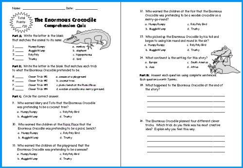 Enormous Crocodile Lesson Plans Author Roald Dahl Comprehension Worksheets Reading Comprehension Worksheets 3rd Grade Reading Comprehension Worksheets Reading aloud worksheets pdf