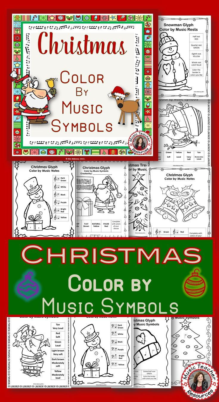 Color by Note: 24 Christmas Music Coloring Pages | Music symbols ...