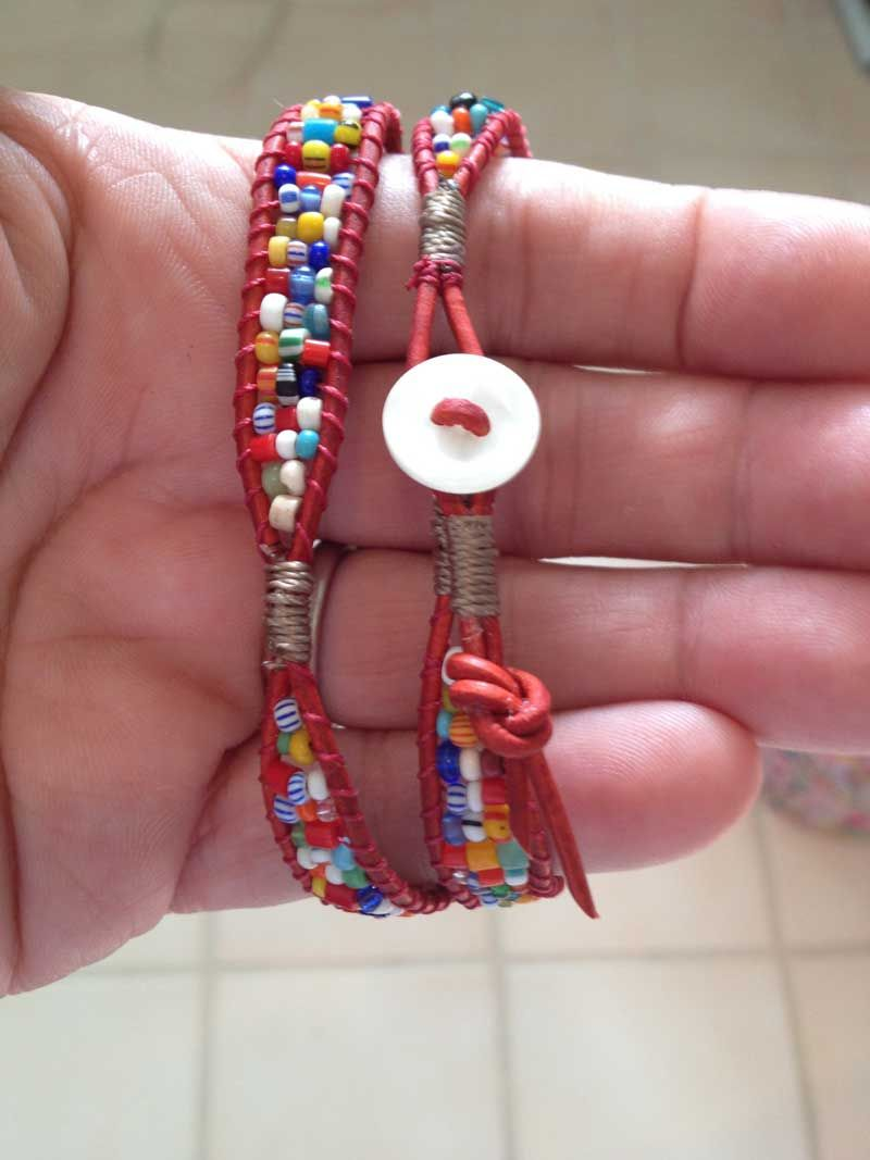 """2X leather wrap with African """"Christmas"""" beads..bracelet pattern from Beadshop.com"""