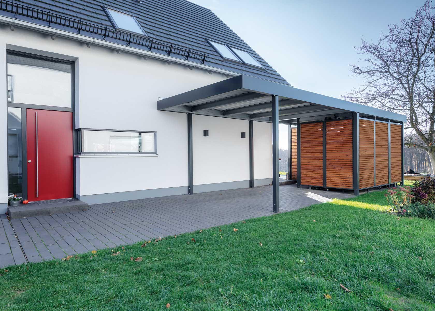 Carport Mit Wandelementen Und Gerateschuppen Haus Carport Modern Carport Mit Schuppen