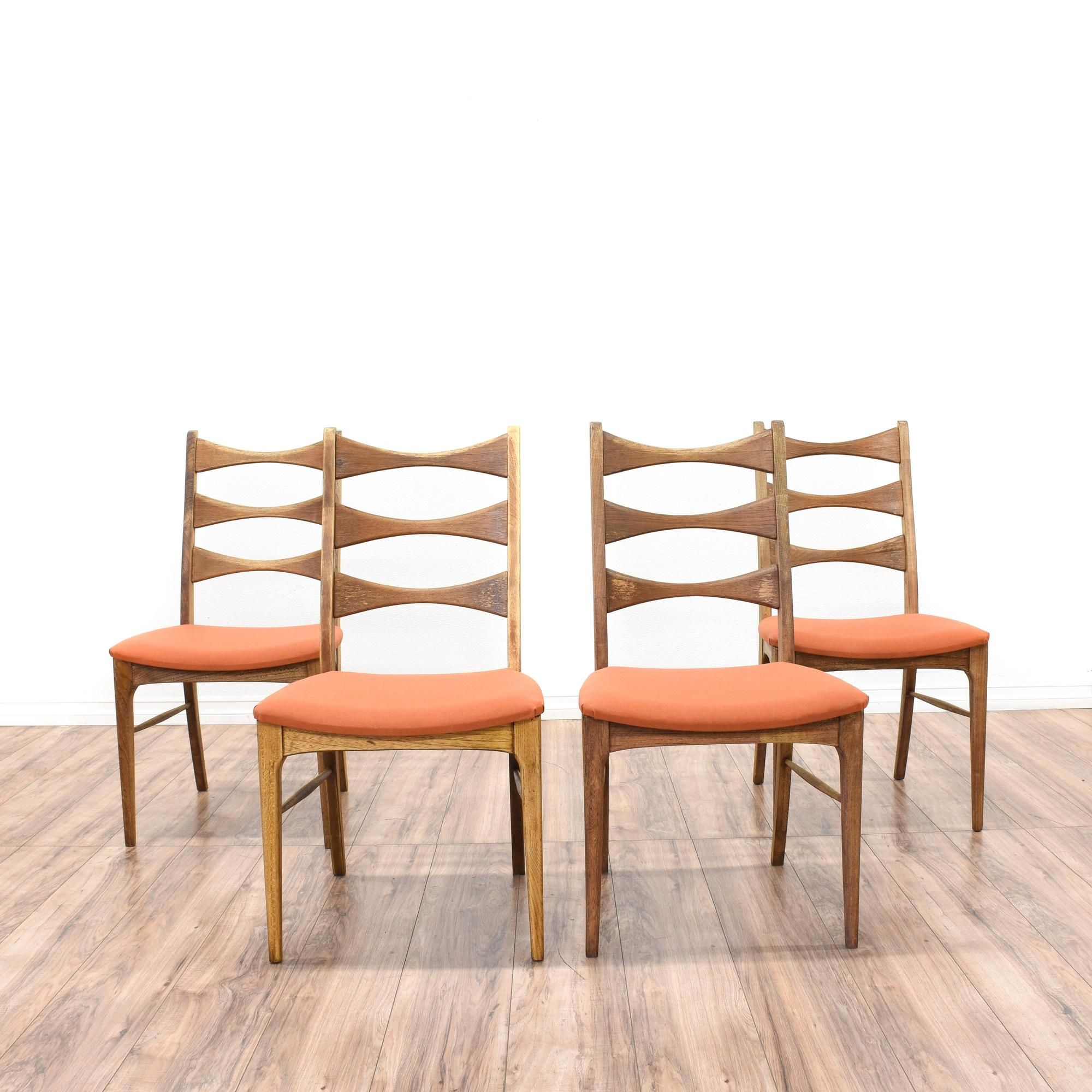 Used danish furniture uploaded by admin in modern furniture category - Set Of 4 Bow Tie Ladder Back Dining Chairs Mid Century Modern