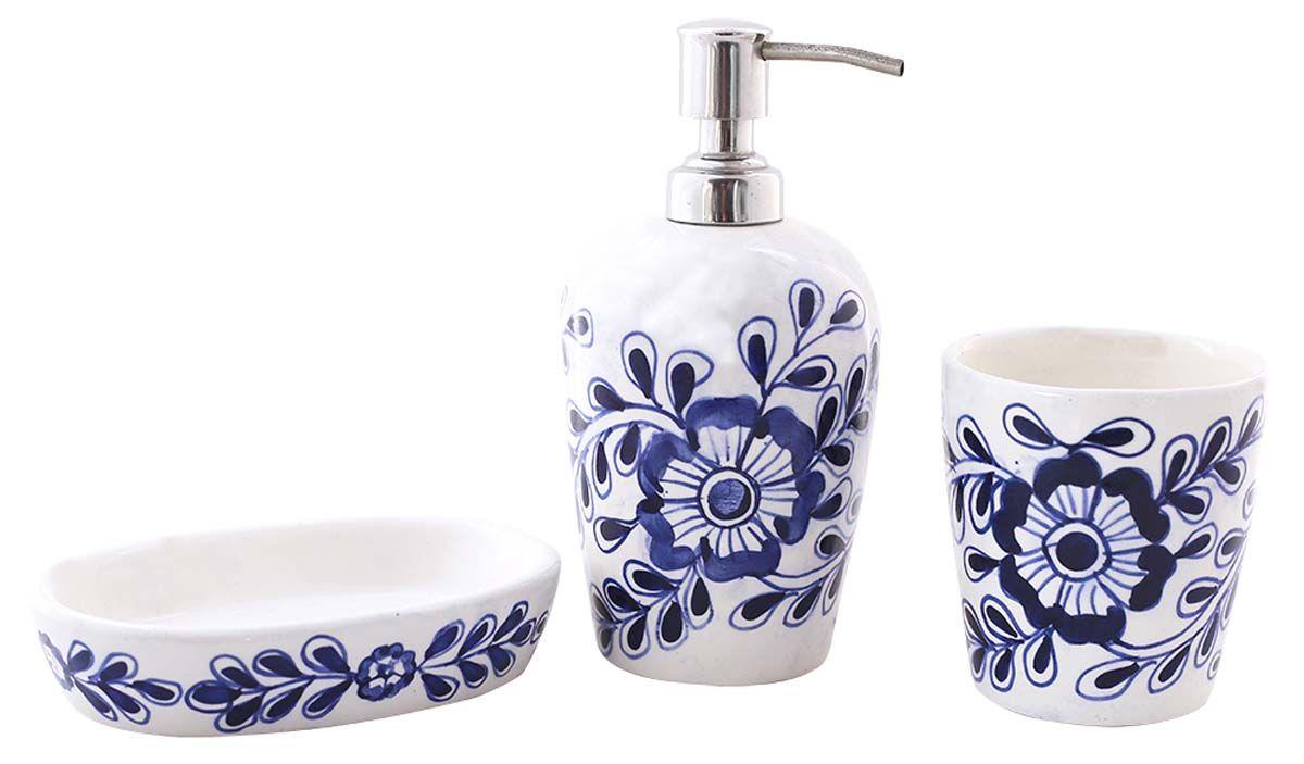 Bulk Wholesale Handmade Ceramic Bath Accessories Set 3 Items Hand Painted Blue White Floral Bath Bath Accessories Set Handmade Bath Products Ceramic Set
