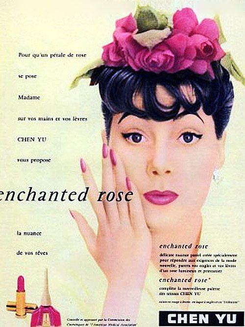 Enchantingly pretty! #hair #hat #makeup #cosmetics #1950s #vintage #ad