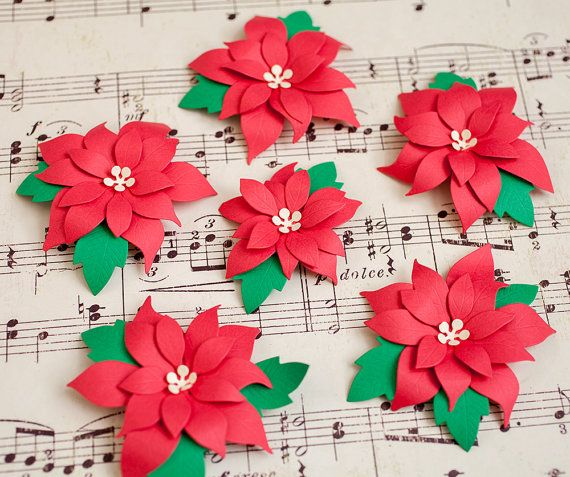 Set of 6 Gift Tags Handmade Paper Poinsettia by oldladybern