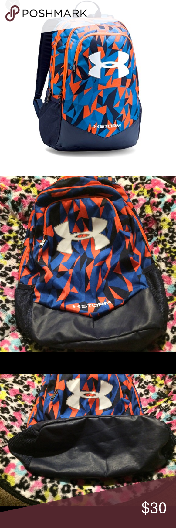 ♻️EUC Under Armour Backpack Boys Under Armour backpack. Great condition. No  stains. All zippers work. Navy and orange. Under Armour Accessories Bags fde3638d70