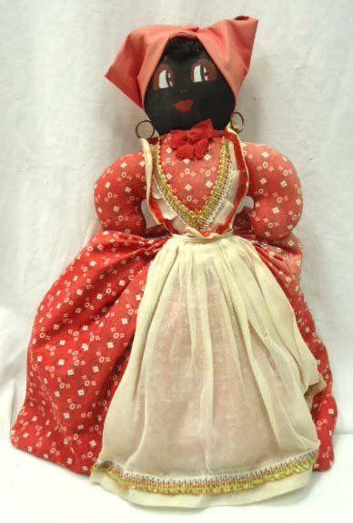 """Black & White Topsy Turvy Doll. """"Topsy"""" side."""